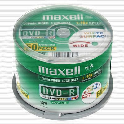 Maxell DVD-R 50-pack spindel 4,7GB data/ 120min video printable 16x