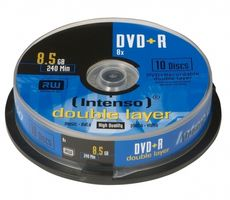 INTENSO 1x10 DVD+R 8,5GB 8x Speed, Double Layer Cakebox (4311142)