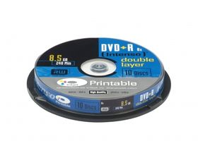 1x10 DVD+R 8,5GB 8x Speed, Double Layer printable