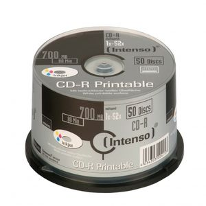 INTENSO 1x50 CD-R 80 / 700MB 52x Speed, printable,  scr. res. (1801125)