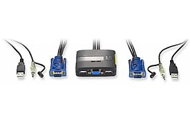 2 port KVM-Switch 2x VGA, USB with audio