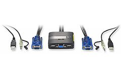 LEVELONE 2 port KVM-Switch 2x VGA, USB with audio