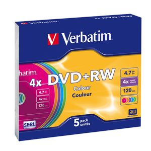 VERBATIM DVD+RW 4,7GB 4X 5-pack SC Colour Retail (43297)