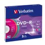 VERBATIM DVD+R 5-p 4,7GB 16X Slim Colour
