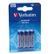 VERBATIM AAA Alkaline Battery (LR03) 4pack Blister Retail
