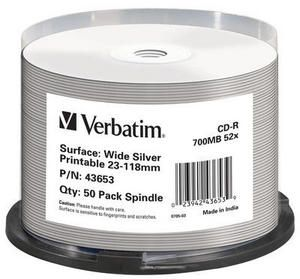 VERBATIM Wide Silver inkprint 50-pack (43653)