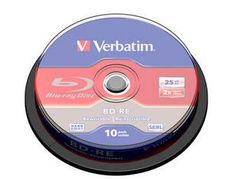 VERBATIM 1x10 BD-RE Blu-Ray 25GB 2x Speed, Cakebox
