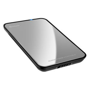 "SHARKOON QuickStore Portable Harddisk-kabinett for 2.5"" SATA, USB 2.0, Sølv (4044951009237)"