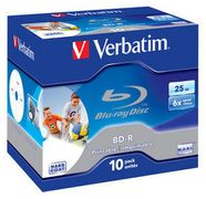 VERBATIM 1x10 BD-R Blu-Ray 25GB 6x Speed, printable, Jewel Case
