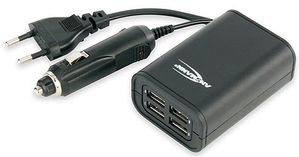 Quattro USB Charger 240V + 12V DC adapter