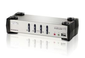 ATEN KVMP Switch 4-port inkl. Kabler XGA USB2 Audio OSD (CS-1734B)