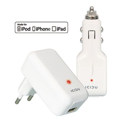 USB Charger Duo Pack AC & Car, 2.1A,1M Cable, Mfi
