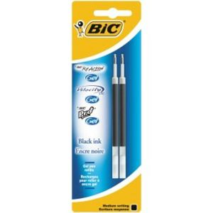 BIC Gel Refill For ReAction / Pro+ Gel / Velocity Gel writing color black (Blister of 2 pieces) (862228)