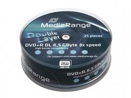 DVD+R MediaRange 8.5GB  25pcs