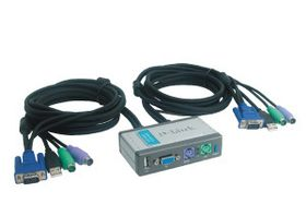 KVM SWITCH 2-PORT W/CABLES F/2PC'S