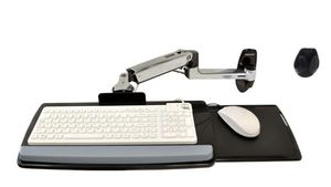 EDU KEYBOARD ARM WITH 9  EXTN WALL MOUNT POLISHED ALUMINIUM