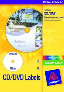 AVERY CD Label FullFace Glossy For Colour Laser, ?117mm 50 labels/ pack 25 sheet/ pack (L7760-25)
