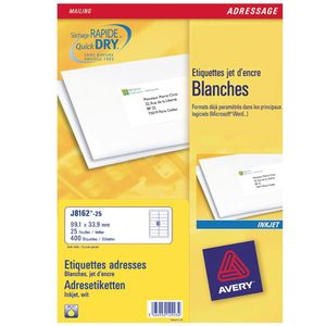 AVERY White Adressing Labels For Inkjet 99.1x33.9mm 16 Labels/ Sheets **25-pack** (J8162-25)