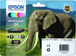 EPSON Ink Cart/24s Elephant Multi 6clrs RF+AM (C13T24284020)