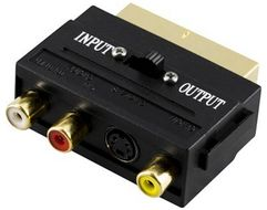 DELTACO adapter, SCART ha till 3xRCA+S-Video,  In-/ Ut-switch,  guldpl. (AA-15)