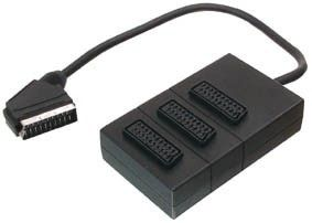 VIDEO SEVEN SCART SPLITTER 3 WAY 0.4M SCART 1X M TO 3X F BLK RETAIL CABL (V7SCRT3SP)