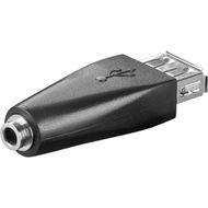 USB-adapter,  A hun til 3,5mm stereo hun, svart