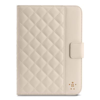 Quilted Cover w Stand iPad Mini Cream