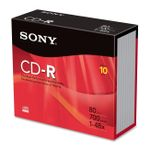SONY 10CDQ80SS 10 X CDR 700MB SLIM CASE
