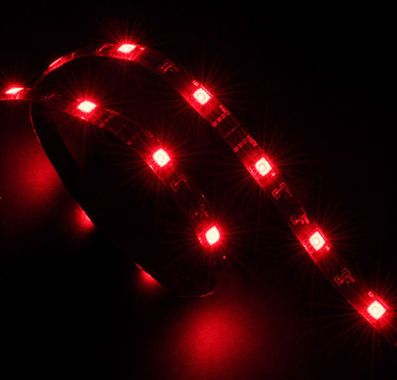"""Vegas"" LED Strip Light Red 60 cm, 15x LEDs, Flexible, Molex 4 pin, 12V, Power Adapter Cable"