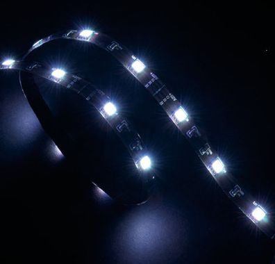 """Vegas"" LED Strip Light White 60 cm, 15x LEDs, Flexible, Molex 4 pin, 12V, Power Adapter Cable"