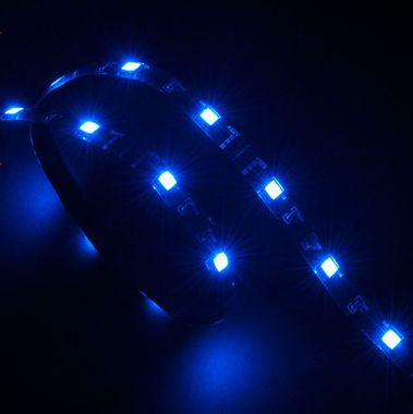 """Vegas"" LED Strip Light Blue 60 cm, 15x LEDs, Flexible, Molex 4 pin, 12V, Power Adapter Cable"