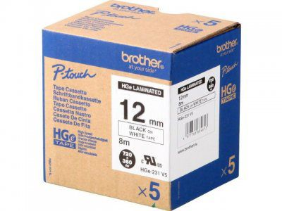 BROTHER 12MM Black On White (5PK) H/Grade (HGE231V5)