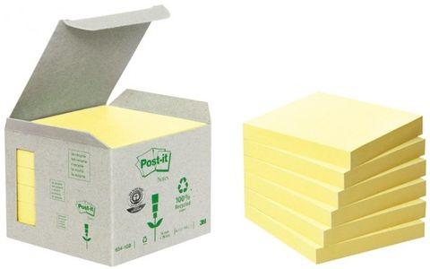 3M Yellow Block (654-1B) 100% Recycled Papper 6-Pack (6541B)