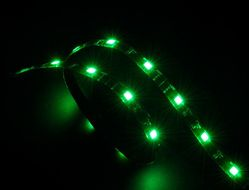 """Vegas"" LED Strip Light Green 60 cm, 15x LEDs, Flexible, Molex 4 pin, 12V, Power Adapter Cable"