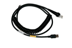 Cable USB, black, Type A, 3m, coiled, 5V host power.