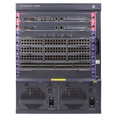 7506 Switch with 2 48-port Gig-T PoE+ Modules and 384Gbps MPU with 2 XFP ports
