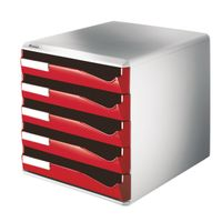 LEITZ post-set 5 drawers red (5280-00-25)