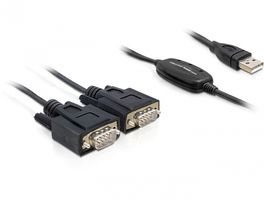 Kabel Adapter USB-St.>2x Seriell-St. 1,4m [