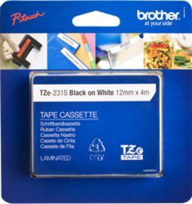 BROTHER P-Touch Tape Black on White 12mm 4m (TZE231S2)