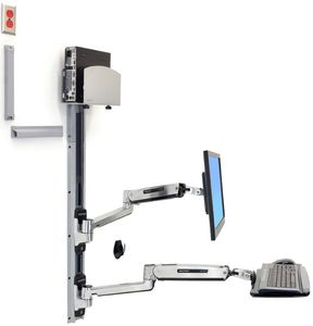 ERGOTRON LX SIT STAND WALL MOUNT SYSTEM MED SILVER CPU HOLDER  POLISHED (45-358-026)