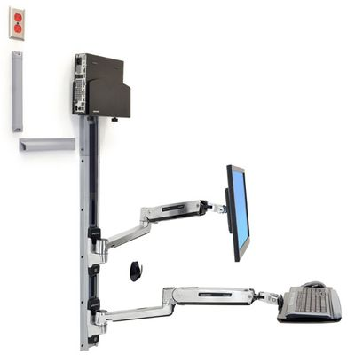 LX SIT STAND WALL MOUNT SYSTEM SMALL BLACK CPU HOLDER  POLISHED