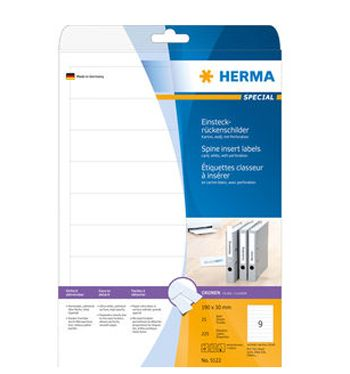 Spine Insert Labels Herma 5122 190 mm x 30 mm , White (25 sheets / 225 labels)