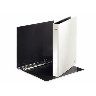 Ring binder A4 maxi WOW 4 D-Ring pearl white Leitz