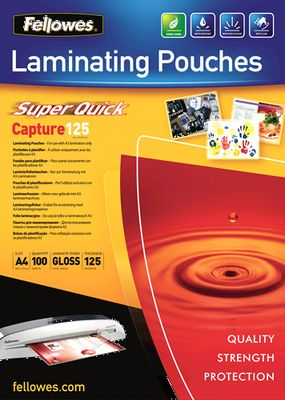 Laminating pouches Fellowes A4 125mic superquick (100pack)