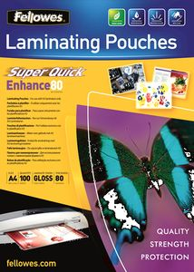 FELLOWES Laminating pouches Fellowes A4 80mic superquick(100pack) (5440001)