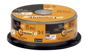 INTENSO 1x25 CD-R 80 / 700MB 52x Speed, Cakebox Spindel (1001124)