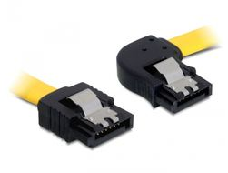 DELOCK Cable SATA 6 Gb/s male straight > SATA male right angled 70 cm yellow met (82830)