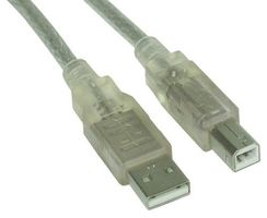 USB 2.0 Kabel, A an B, transparent - 10m