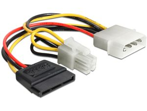 DELOCK Powerkabel Molex 4pin St -> SATA 15pin Bu + (60127)