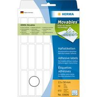 Self-adhesive labels HERMA movables, 32 sheets, 672 labels, 13mm x 50mm, 10606